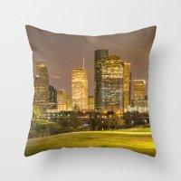 houston Throw Pillows featuring houston skyline by franckreporter