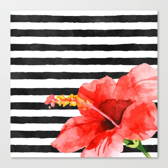 Tropical flower on stripes Canvas Print