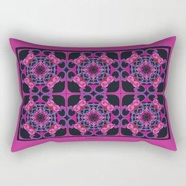 World Citizen Mandala Tiled - Fuchsia Black Rectangular Pillow