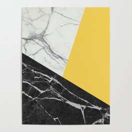 Black and White Marble with Pantone Primrose Yellow Poster