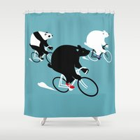 cycling Shower Curtains featuring Cycling Bear Race by Pietari Posti