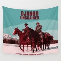 movie poster Wall Tapestries featuring Django Unchained Movie Poster  by FunnyFaceArt