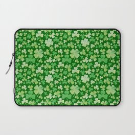 Lucky Green Watercolour Shamrock Pattern Laptop Sleeve