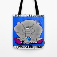 baby elephant Tote Bags featuring Elephant(Baby) by Vivian Fortunato