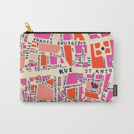 paris map pink Carry-All Pouch