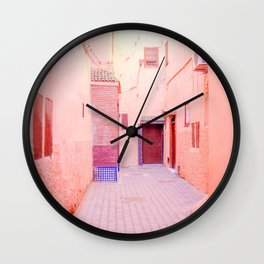 Colorful Pink Hued Street in Medina Marrakech Morocco Wall Clock