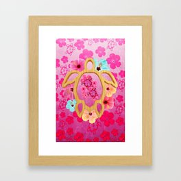 Hawaiian Pink Turtle Framed Art Print