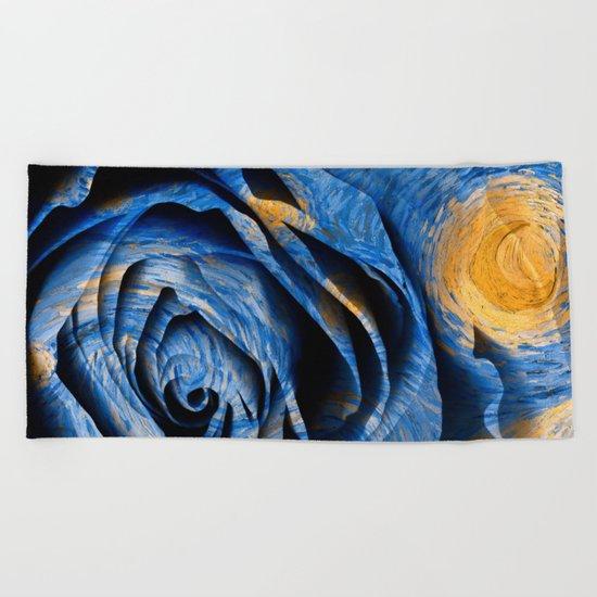 Starry Night Rose Beach Towel