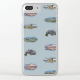 Highland Landmarks in blue Clear iPhone Case