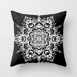 Grunge Feathered Mandala A - White Throw Pillow