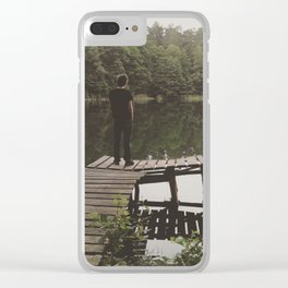 Human loneliness by the lake Clear iPhone Case