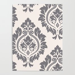 Decorative Damask Art I Grey on Cream Poster