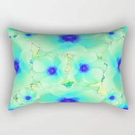 Celadon Jade Green-Blue Color Flower Pattern Rectangular Pillow