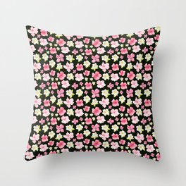 Blooms On Black Throw Pillow