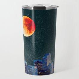 Blood Moon over Denver Colorado Skyline Travel Mug