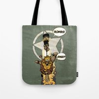 bombs away Tote Bags featuring Bombs Away  by Greathouse