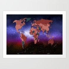 world map  political galaxy Art Print