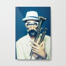 hipster before a jazz jam session Metal Print