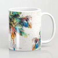 jfk Mugs featuring Colorful Palm Trees - Returning Home - By Sharon Cummings by Sharon Cummings