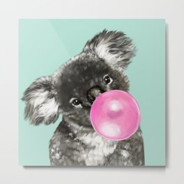 Playful Koala Bear with Bubble Gum in Green Metal Print