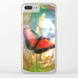 Soap bubble butterfly Clear iPhone Case