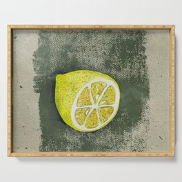 Lemon on dirty grunge green background. Serving Tray