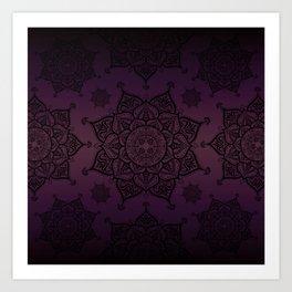Mandala Violet Black Spiritual Zen Bohemian Hippie Yoga Mantra Meditation Kunstdrucke