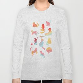 Cat Silhouette Collage with Rainbow Colours Long Sleeve T-shirt