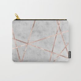 White Marble Rose Gold Geo Glam #2 #geo #decor #art #society6 Carry-All Pouch