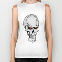metallic Biker Tanks featuring Metallic Skull by J&C Creations