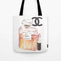 perfume Tote Bags featuring Perfume by AshleyRose