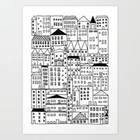 cityscape Art Prints featuring cityscape by Anna Grunduls