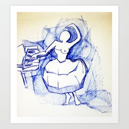 Ballerina in blue pen Art Print