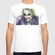 Joker Why So Serious Watercolor White MEDIUM Mens Fitted Tee