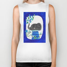 elephant with raindrops in blue watercolor illustration Biker Tank