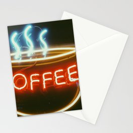 Coffee Shops and Neon Lights Stationery Cards