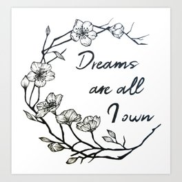Dreams are all I own Art Print
