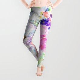 Pretty watercolor floral hand paint design Leggings