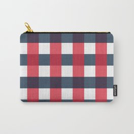 Red White and Blue Gingham Check Pattern Carry-All Pouch