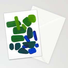 Mid Century Vintage Abstract Minimalist Colorful Pop Art Phthalo Blue Lime Green Pebble Shapes Stationery Cards