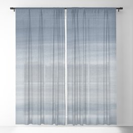 Touching Navy Blue Watercolor Abstract #1 #painting #decor #art #society6 Sheer Curtain