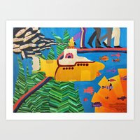 yellow submarine Art Prints featuring Yellow Submarine  by Dayra Cardoze