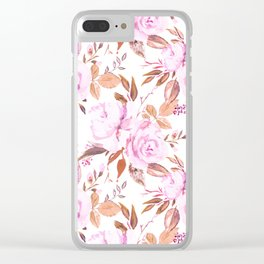 Botanical pink lilac watercolor modern roses floral Clear iPhone Case