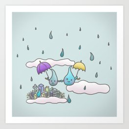 Rain drops keep falling on my head Art Print