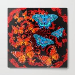 Decorative Blue Moths Orange Butterflies  Design Metal Print