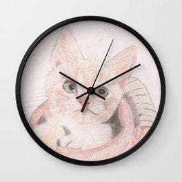 Cute Kitten in a Basket Looking Adorable Wall Clock