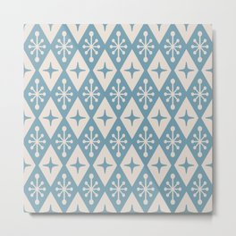 Mid Century Modern Atomic Triangle Pattern 711 Blue and Beige Metal Print