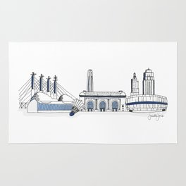 Kansas City Skyline Illustration in Sporting KC Colors Rug