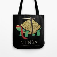 ninja turtle Tote Bags featuring ninja - red by Louis Roskosch