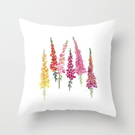 Watercolor snapdragons Throw Pillow